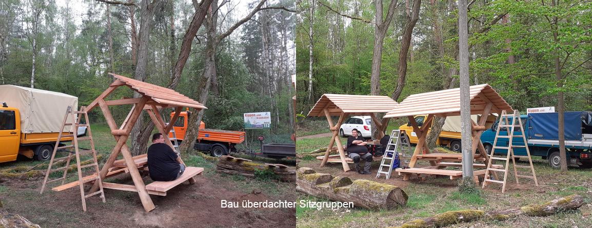 zwei Fotos vom Bau der Sitzgruppen